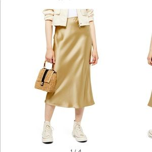 TOPSHOP NWT Gold Satin Bias Midi Skirt